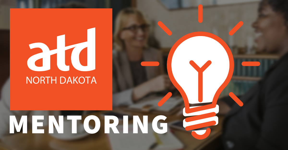 Text and image with link to ND ATD Mentoring page. Image of people talking in the background with the ATD logo and a light bulb graphic in front. Text reads ATD ND Mentoring.