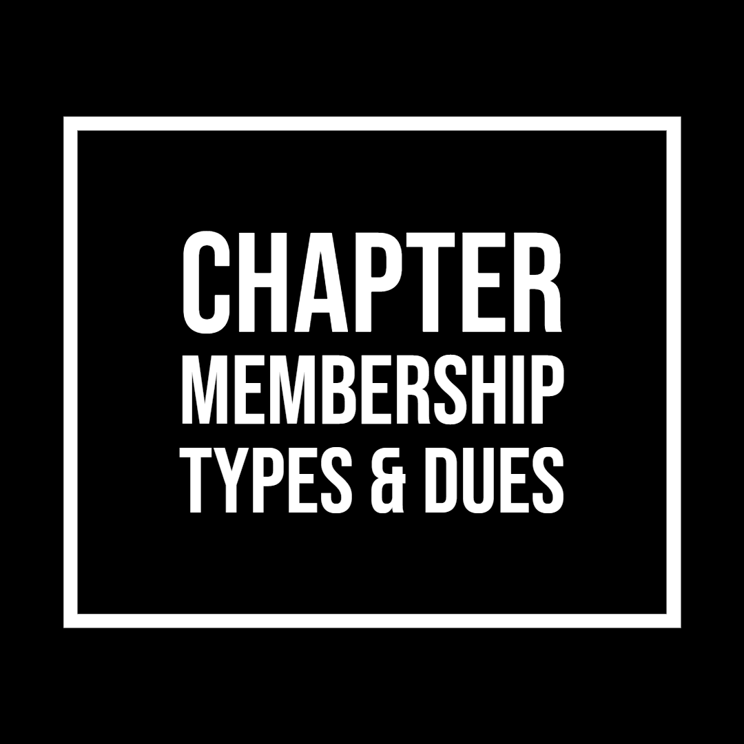 Text image with link to Membership page. Chapter Membership types & dues.